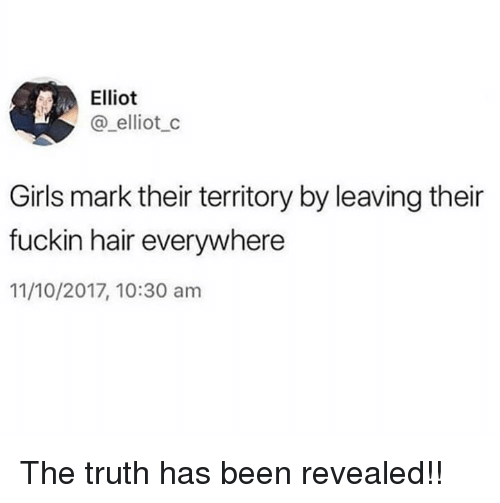 Dank, Girls, and Hair: Elliot  @ elliotc  Girls mark their territory by leaving their  fuckin hair everywhere  11/10/2017, 10:30 am The truth has been revealed!!