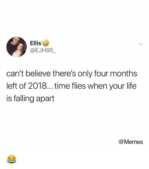 Dank, Life, and Memes: Ellis  @EJH95  can't believe there's only four months  left of 2018... time flies when your life  is falling apart  @Memes 😂