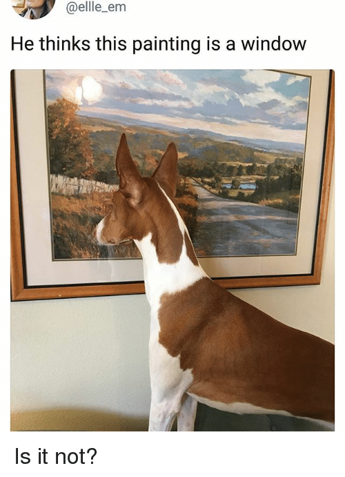 Memes, 🤖, and Window: @ellle_em  He thinks this painting is a window Is it not?