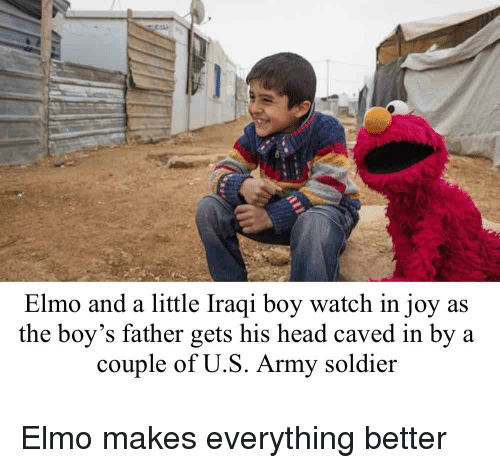 Elmo And A Little Iraqi Boy Watch In Joy As The Boy S Father