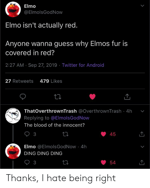 Elmo Elmo Isn T Actually Red Anyone Wanna Guess Why Elmos