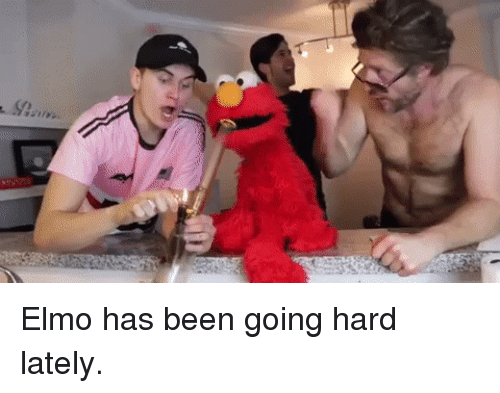 Elmo, Been, and Lately: Elmo has been going hard lately.