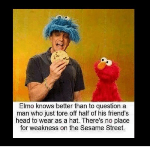 Elmo, Friends, and Head: Elmo knows better than to question a  man who just tore off half of his friend's  head to wear as a hat. There's no place  for weakness on the Sesame Street.
