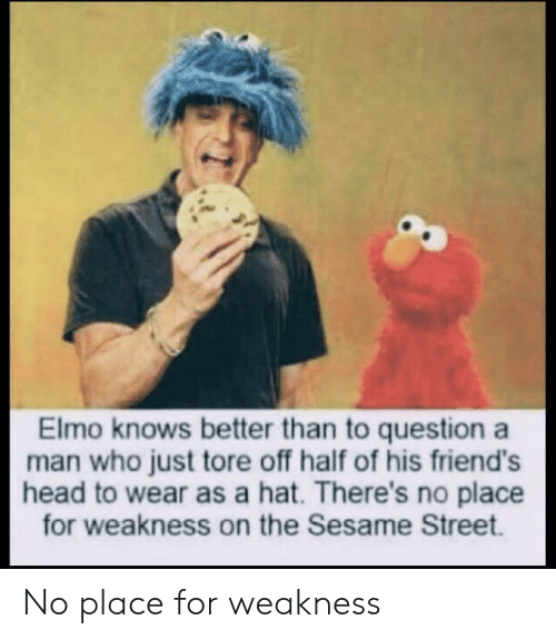 Elmo, Friends, and Head: Elmo knows better than to question a  man who just tore off half of his friend's  head to wear as a hat. There's no place  for weakness on the Sesame Street. No place for weakness