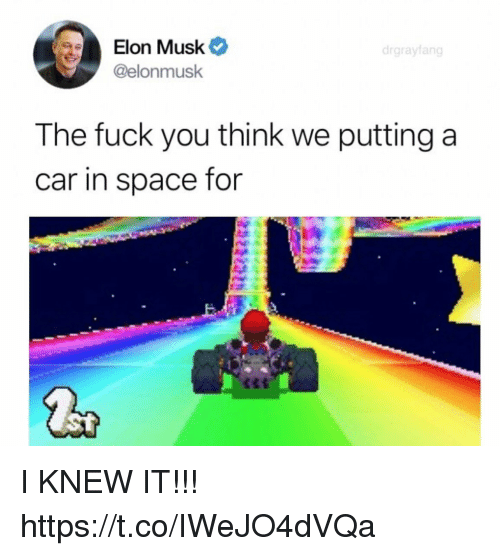 Fuck You, Funny, and Fuck: Elon Musk  @elonmusk  drgrayfang  The fuck you think we putting a  car in space for I KNEW IT!!! https://t.co/IWeJO4dVQa