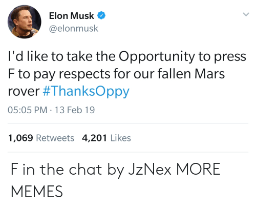 Dank, Memes, and Target: Elon Musk  @elonmusk  l'd like to take the Opportunity to press  F to pay respects for our fallen Mars  rover #ThanksOppy  05:05 PM-13 Feb 19  1,069 Retweets 4,201 Likes F in the chat by JzNex MORE MEMES