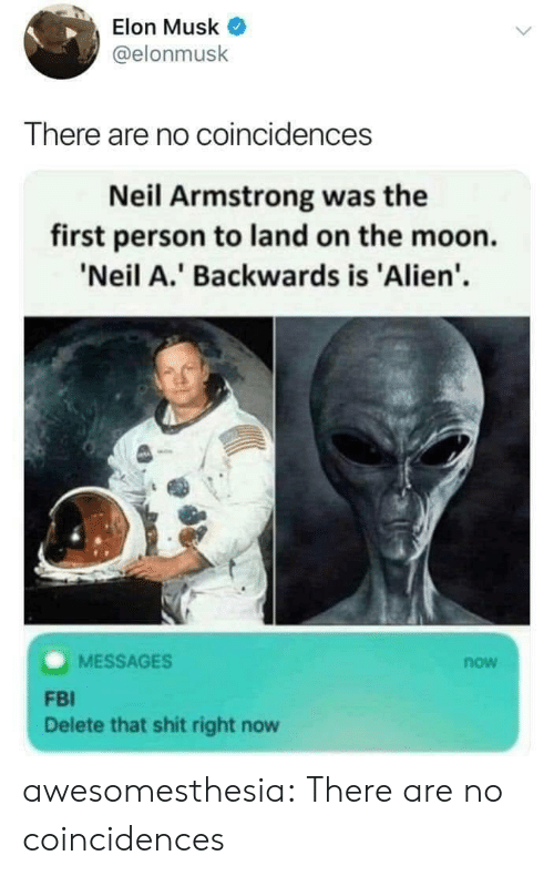 Fbi, Tumblr, and Neil Armstrong: Elon Musk  @elonmusk  There are no coincidences  Neil Armstrong was the  first person to land on the moon.  'Neil A.' Backwards is 'Alien'  MESSAGES  now  FBI  Delete that shit right now awesomesthesia:  There are no coincidences