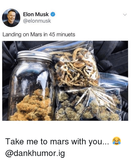 Weed, Marijuana, and Mars: Elon Musk o  @elonmusk  Landing on Mars in 45 minuets Take me to mars with you... 😂 @dankhumor.ig