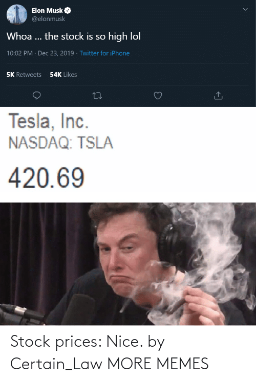 Dank, Iphone, and Lol: Elon Musk O  @elonmusk  Whoa ... the stock is so high lol  10:02 PM · Dec 23, 2019 · Twitter for iPhone  54K Likes  5K Retweets  Tesla, Inc.  NASDAQ: TSLA  420.69 Stock prices: Nice. by Certain_Law MORE MEMES