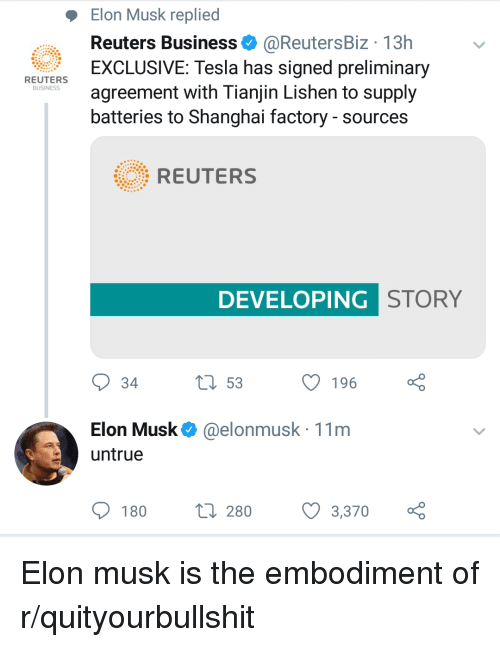 Elon Musk Replied Reuters Business 13h Exclusive Tesla Has Signed