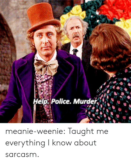Police, Tumblr, and Blog: elp. Police. Murde meanie-weenie: Taught me everything I know about sarcasm.