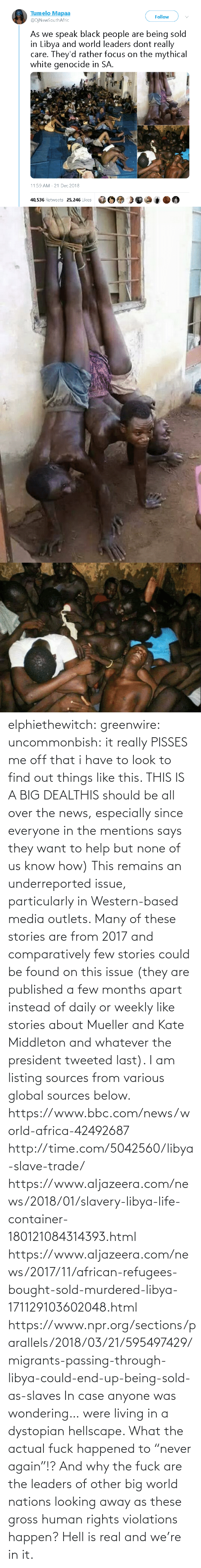 "Africa, Life, and News: elphiethewitch: greenwire:  uncommonbish:  it really PISSES me off that i have to look to find out things like this. THIS IS A BIG DEALTHIS should be all over the news, especially since everyone in the mentions says they want to help but none of us know how)  This remains an underreported issue, particularly in Western-based media outlets. Many of these stories are from 2017 and comparatively few stories could be found on this issue (they are published a few months apart instead of daily or weekly like stories about Mueller and Kate Middleton and whatever the president tweeted last). I am listing sources from various global sources below.  https://www.bbc.com/news/world-africa-42492687 http://time.com/5042560/libya-slave-trade/ https://www.aljazeera.com/news/2018/01/slavery-libya-life-container-180121084314393.html https://www.aljazeera.com/news/2017/11/african-refugees-bought-sold-murdered-libya-171129103602048.html https://www.npr.org/sections/parallels/2018/03/21/595497429/migrants-passing-through-libya-could-end-up-being-sold-as-slaves   In case anyone was wondering… were living in a dystopian hellscape.  What the actual fuck happened to ""never again""!? And why the fuck are the leaders of other big world nations looking away as these gross human rights violations happen?  Hell is real and we're in it."