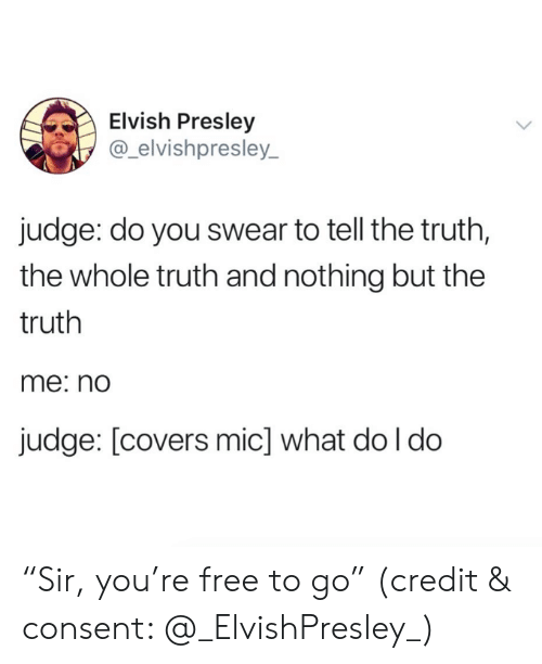 """Covers, Free, and Truth: Elvish Presley  @_elvishpresley_  judge: do you swear to tell the truth,  the whole truth and nothing but the  truth  me: nd  judge: [covers mic] what do l do """"Sir, you're free to go"""" (credit & consent: @_ElvishPresley_)"""