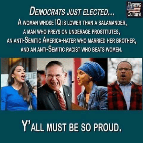 America, Memes, and Beats: Elyover  DEMOCRATS JUST ELECTED  A WOMAN WHOSE 1Q IS LOWER THAN A SALAMANDER,  A MAN WHO PREYS ON UNDERAGE PROSTITUTES  AN ANTI-SEMITIC AMERICA-HATER WHO MARRIED HER BROTHER,  AND AN ANTI-SEMITIC RACIST WHO BEATS WOMEN  Y'ALL MUST BE SO PROUD.