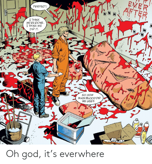 God, How, and Blood: EMER  AFTER  PERFECT!  I THINK  WE'RE DONE,  I THINK WE  DIP IT.  SO HOW  MUCH BLOOD DID  WE USE? Oh god, it's everwhere