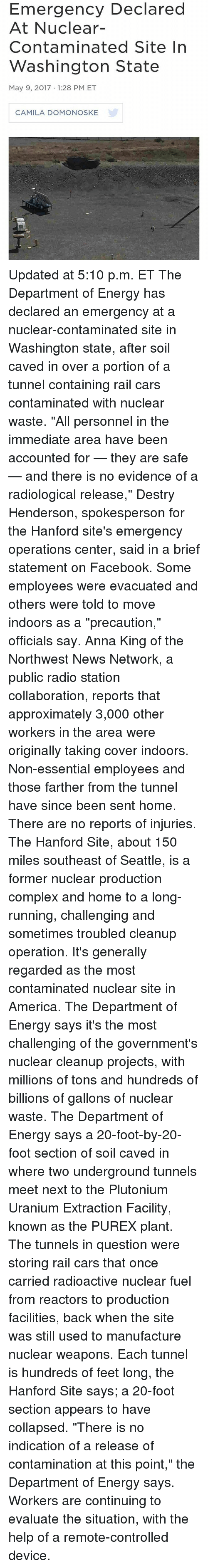America, Anna, and Cars: Emergency Declared At Nuclear- Contaminated Site In Washington