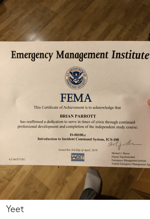 Emergency Management Institute PARTM AND SE FEMA This Certificate of