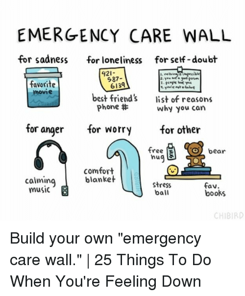 "Books, Friends, and Music: EMERGENCYCARE WALL  for sadnessfor loneliness  for self -doubt  421-  I.  favorite  movie  587-  6139  best friend's  Phone #  list of reasons  why you can  for angerfor worryfor other  Obear  tree  hu  comfort  blanket  calming  music  stress  ball  fav  books  CHIBIRD Build your own ""emergency care wall."" 