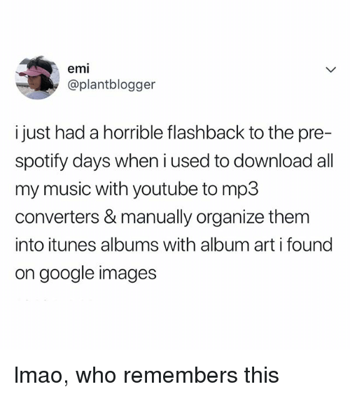 Google, Lmao, and Music: emi  @plantblogger  i just had a horrible flashback to the pre-  spotify days when i used to download all  my music with youtube to mp3  converters & manually organize them  into itunes albums with album art i found  on google images lmao, who remembers this