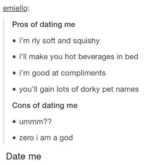 Pros and cons of dating me