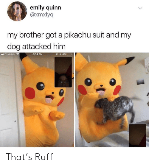 Pikachu, Mobile, and Got: emily quinn  @xmxlyq  my brother got a pikachu suit and my  dog attacked him  4%  IT-Mobile  6:34 PM That's Ruff
