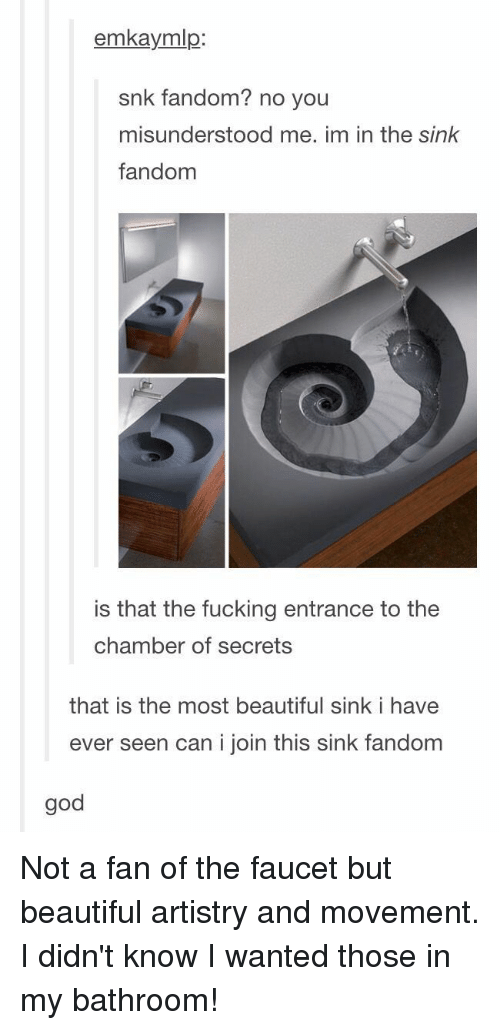 Beautiful, Fucking, and God: emkaymlgp  snk fandom? no you  misunderstood me. im in the sink  fandom  is that the fucking entrance to the  chamber of secrets  that is the most beautiful sink i have  ever seen can i join this sink fandom  god Not a fan of the faucet but beautiful artistry and movement. I didn't know I wanted those in my bathroom!