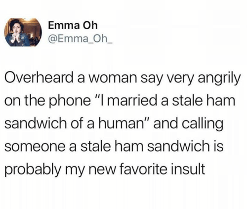 "Dank, Phone, and 🤖: Emma Oh  @Emma_ Oh_  Overheard a woman say very angrily  on the phone "" married a stale ham  sandwich of a human"" and calling  someone a stale ham sandwich is  probably my new favorite insult"