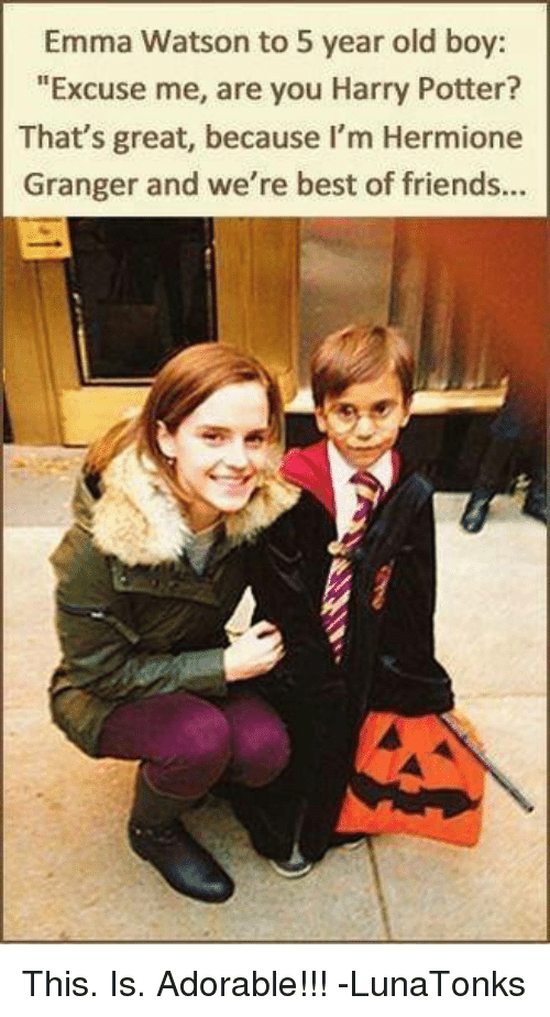 Emma Watson To 5 Year Old Boy Excuse Me Are You Harry Potter That S