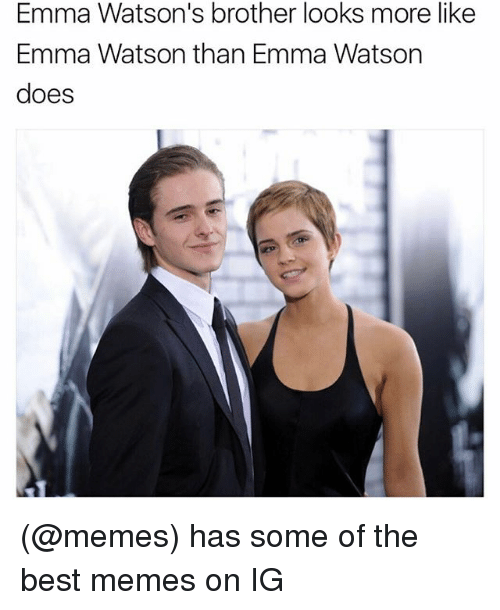 Funny, Meme, and Brother: Emma Watson's brother looks more like  Emma Watson than Emma Watson  does (@memes) has some of the best memes on IG