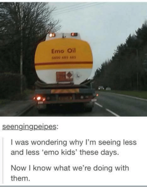Emo, Kids, and Humans of Tumblr: Emo Oil  seengingpeipes  I was wondering why I'm seeing less  and less emo kids' these days.  Now know what we're doing with  them