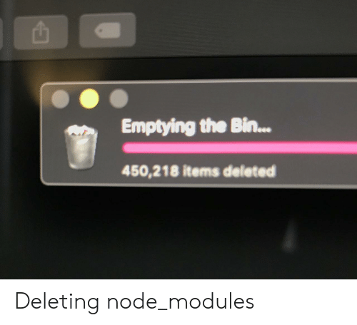 Emptying the Bin 450218 Items Deleted Deleting Node_modules