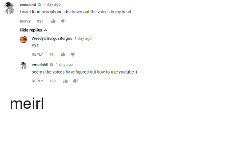 """Head, youtube.com, and Headphones: emudshit 1 day ago  I want loud headphones to drown out the voices in my head  REPLY 991  Hide replies  Weedy's BurgusBurgus 1 day ago  Kys  REPLY 14 I.  emudshit 1 day ago  seems the voices have figured out how to use youtube:(  128 ור""""י meirl"""