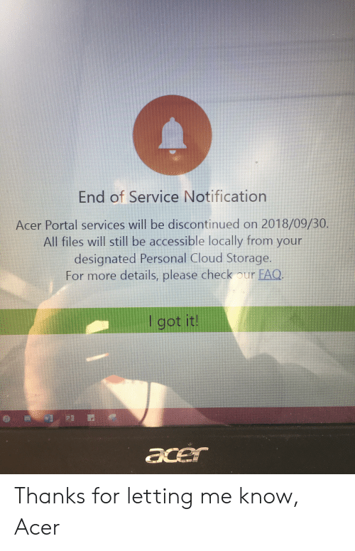 End of Service Notification Acer Portal Services Will Be