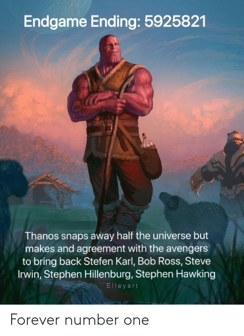 Reddit, Stephen, and Stephen Hawking: Endgame Ending: 5925821  13  Thanos snaps away half the universe but  makes and agreement with the avengers  to bring back Stefen Karl, Bob Ross, Steve  Irwin, Stephen Hillenburg, Stephen Hawking  El l e y art Forever number one