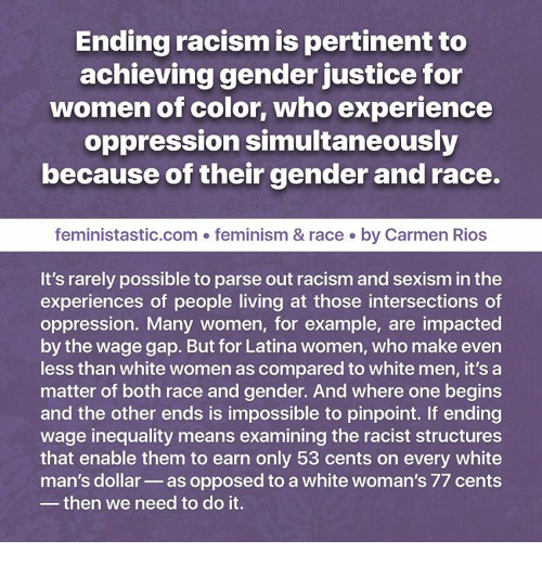 the intersection of racism and gender Racism and patriarchy in the meaning of perspectives on the intersection of race and gender racism and patriarchy are not two separate institutions that inter.