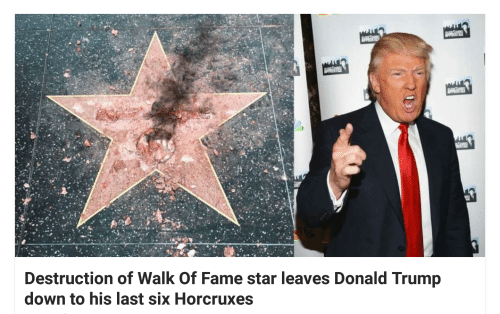 Donald Trump, Star, and Trump: ENE  Destruction of Walk Of Fame star leaves Donald Trump  down to his last six Horcruxes