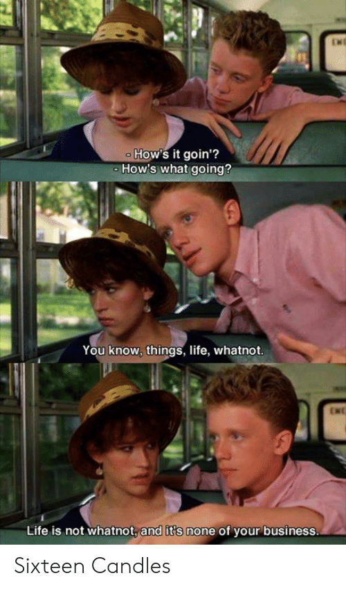Life, Memes, and Business: ENE  How's it goin'?  How's what going?  You know, things, life, whatnot.  ENC  Life is not whatnot, and it's none of your business. Sixteen Candles