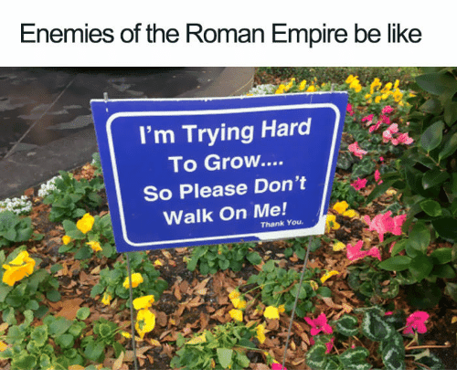 Be Like, Empire, and Thank You: Enemies of the Roman Empire be like  I'm Trying Hard  To Grow....  So Please Don't  Walk On Me!  Thank You