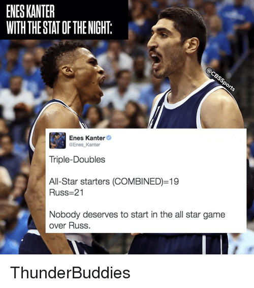All Star, Enes Kanter, and Memes: ENESKANTER  WITH THE STATOF THE NIGHT  Enes Kanter  Enes Kanter  Triple-Doubles  All-Star starters (COMBINED) 19  Russ 21  Nobody deserves to start in the all star game  over Russ ThunderBuddies