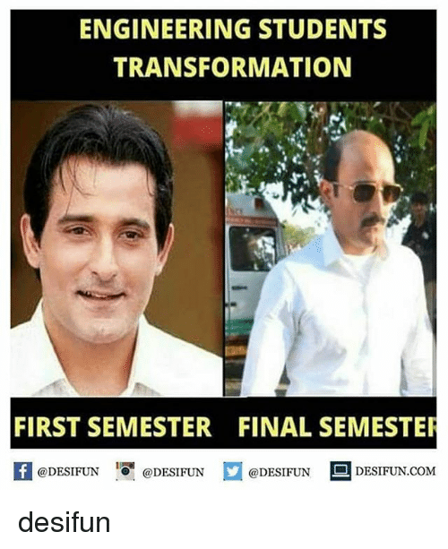 Memes, Engineering, and 🤖: ENGINEERING STUDENTS  TRANSFORMATION  FIRST SEMESTER FINAL SEMESTE  @DESIFUN  1 I  @DESIFUN@DESIFUN  @DESIFUN  @DESIFUN DESIFUN.COM desifun