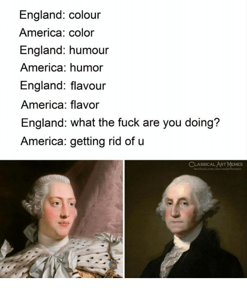 America, England, and Memes: England: colour  America: color  England: humour  America: humor  England: flavour  America: flavor  England: what the fuck are you doing?  America: getting rid of u  CLASSICALART MEMES  face  memes