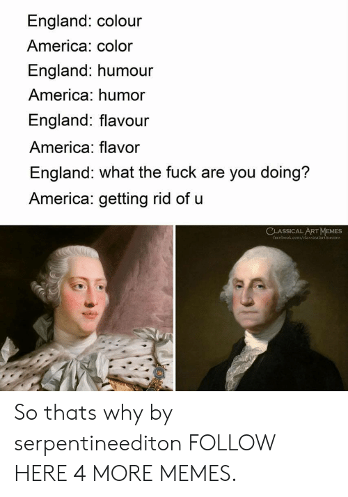 America, Dank, and England: England: colour  America: color  England: humour  America: humor  England: flavour  America: flavor  England: what the fuck are you doing?  America: getting rid of u  CLASSICALART MEMES  face  memes So thats why by serpentineediton FOLLOW HERE 4 MORE MEMES.