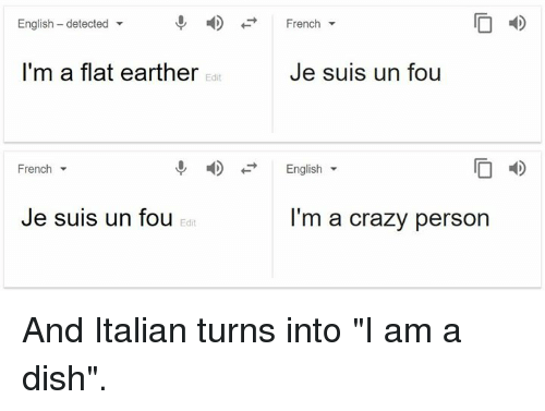 """Crazy, Dank, and Dish: English - detected  -  French  I'm a flat earther  Je suis un fou  Edit  French  English  I D  Je suis un fou  I'm a crazy person  Edit And Italian turns into """"I am a dish""""."""