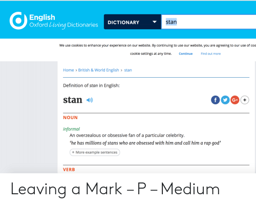 English Oxford Living Dictionaries DICTIONARY Stan We Use