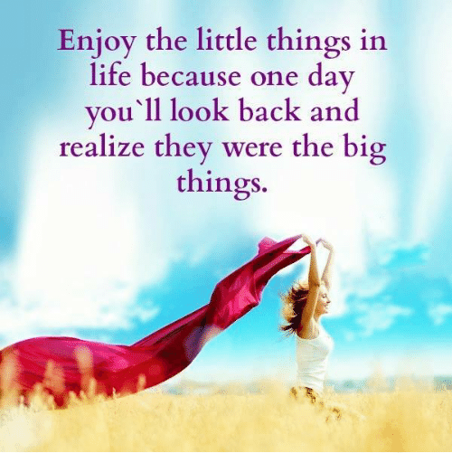 Enjoy The Little Things In Life Because One Day Youll Look Back And