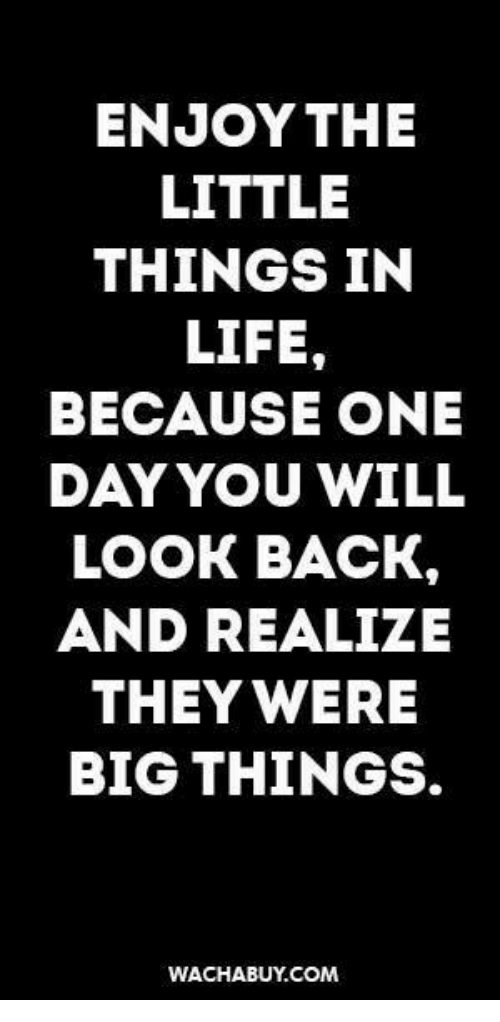 Enjoy The Little Things In Life Because One Dayyou Will Look Back