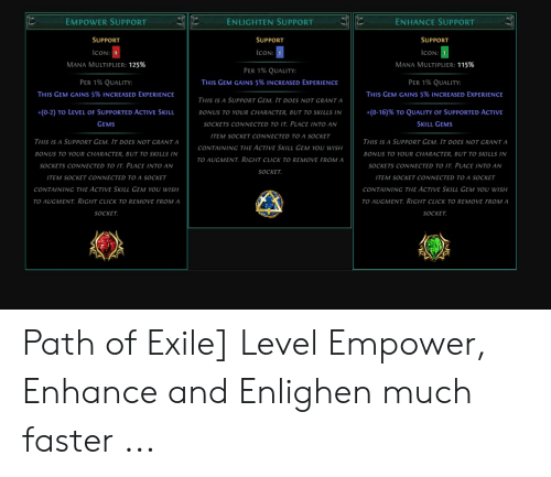 Enlighten Support Empower Support Enhance Support Support Support Support Icon Icon Icon Mana Multiplier 125 Mana Multiplier 115 Per 1 Quality Per 1 Quality This Gem Gains 5 Increased Experience Per 1 5% poe currency coupon z123 1% newly registered user discount: enlighten support empower support
