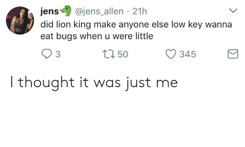 Low Key, Lion, and Lion King: ens@jens allen 21h  did lion king make anyone else low key wanna  eat bugs when u were little  3  tn 50  O 345 I thought it was just me