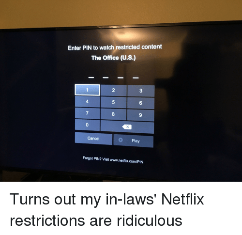 Enter Pin To Watch Restricted Content The Office Us 2 4 6 7 8 Cancel
