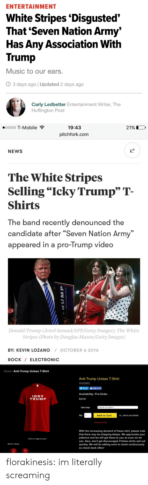 """Click, Donald Trump, and Music: ENTERTAINMENT  White Stripes 'Disgusted'  That 'Seven Nation Army'  Has Any Association With  Trump  Music to our ears.  3 days ago 